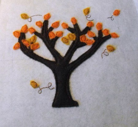 Fall Tree for Felt Applique Embroidery Design