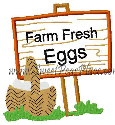 Farm Fresh Eggs Applique Embroidery Design