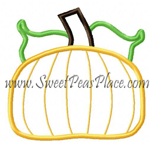 Fat Pumpkin Embroidery Applique Design