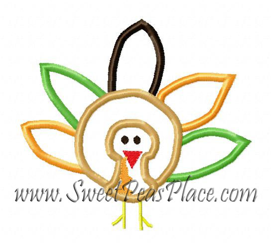 Feathered Turkey Embroidery Applique Design
