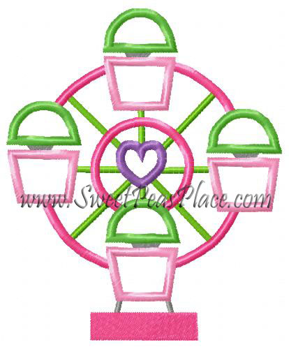 Ferris Wheel Applique Embroidery Design