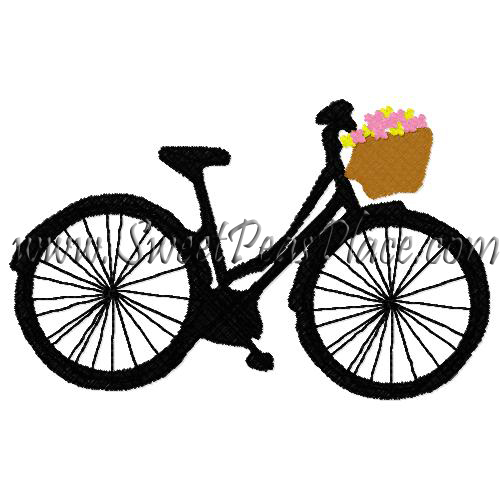 Fifties Bicycle with Basket Flowers Embroidery Design