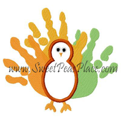 Fingerprint Turkey Applique Embroidery Design