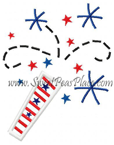 Firecracker Applique Embroidery Design