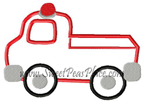 Firetruck 2 Applique Embroidery Design