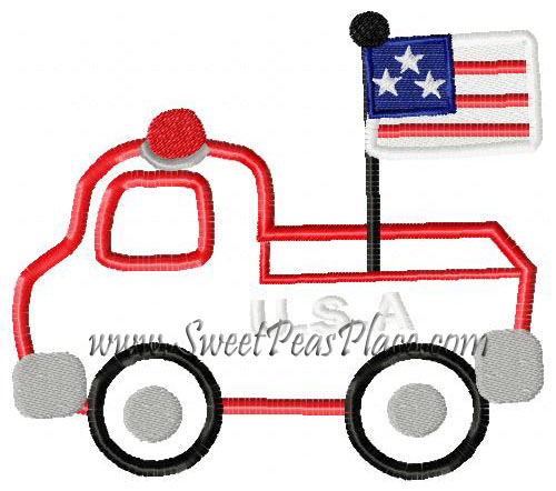 Firetruck USA Applique Embroidery Design
