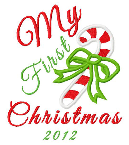 First Christmas 2012 Applique Embroidery Design