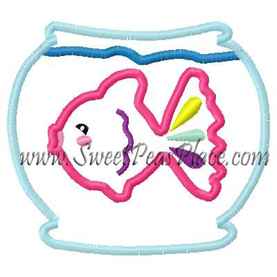 Fish bowl with fish for vinyl Applique Embroidery Design