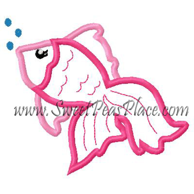 Fish with Bubbles Applique Embroidery Design