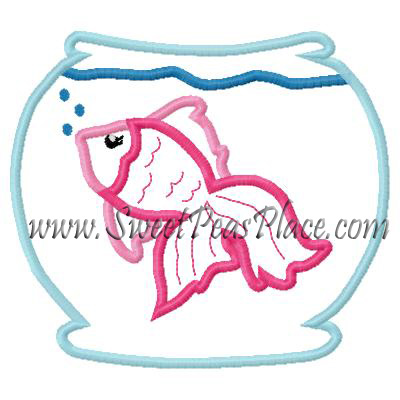 Fish Bubbles in Fish Bowl Applique Embroidery Design for Vinyl