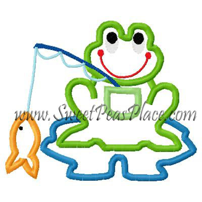 Fishing Frog Applique Embroidery Design