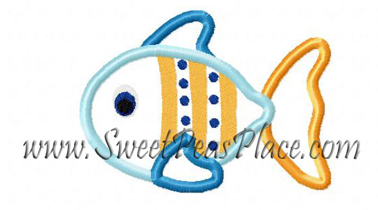 Fish Striped Applique Embroidery Design