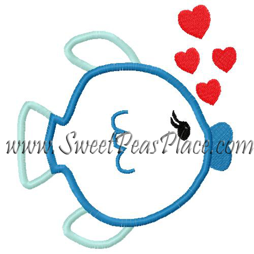 Kissing Fish 2 Applique Embroidery Design