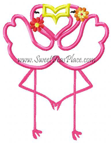 Flamingo Love Applique Embroidery Design