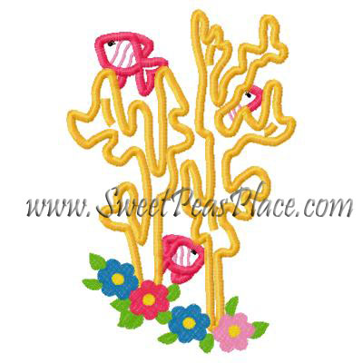 Floral Reef Applique Embroidery Design