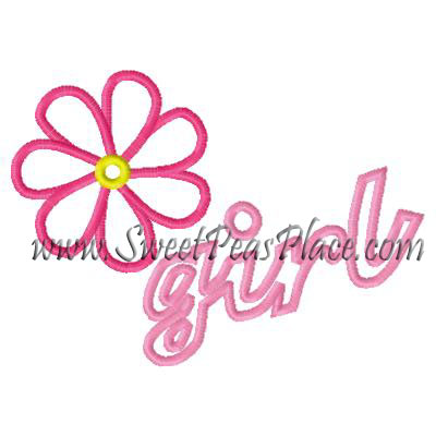 Flower Girl Applique Embroidery Design