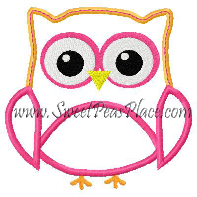 Owl Flower 2 Applique Embroidery Design