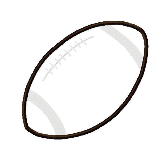 Football Applique with Stripe Filled Embroidery Design