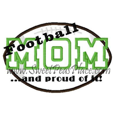 Sports And Things Football Mom 2 Applique Embroidery Design Sweet