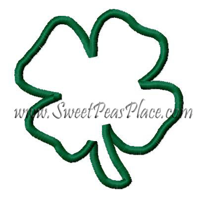 Four Leaf Clover Applique and Fill Embroidery Design