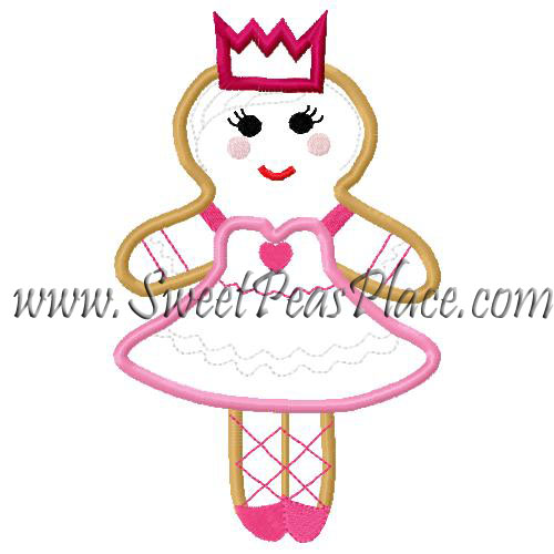 Gingerbread Ballerina Applique Embroidery Design