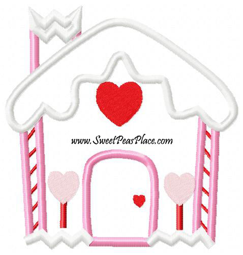 Gingerbread striped house Applique Embroidery Design