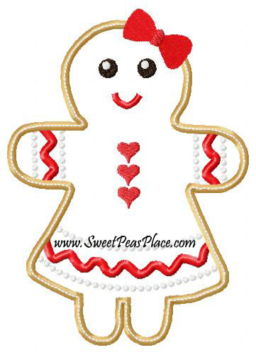 Gingerbread Girl Dress 2 Applique Embroidery Design