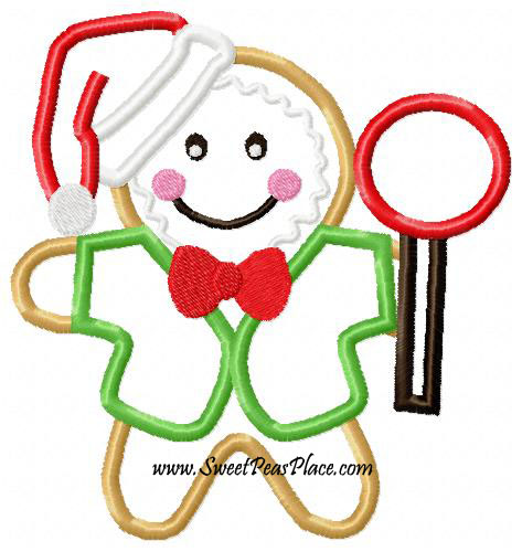 Gingerbread Kid Boy Applique Embroidery Design