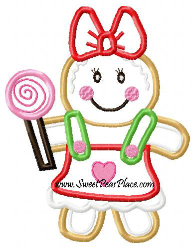 Gingerbread Gingerbread Kid Girl Applique Embroidery Design Sweet