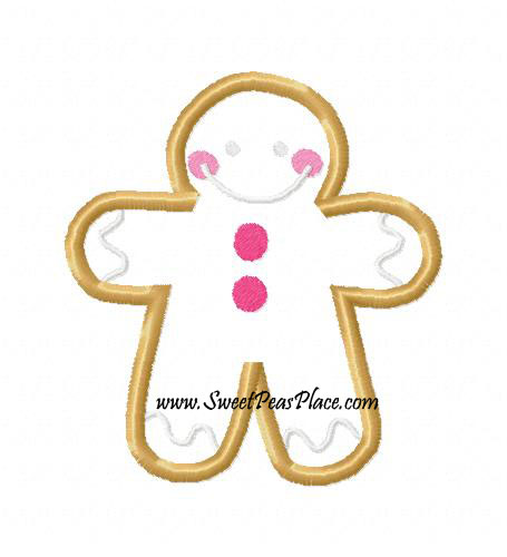Gingerbread Man Applique Embroidery Design