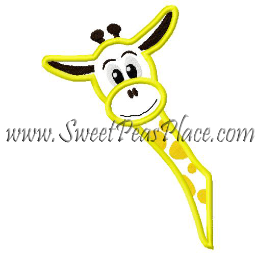 Side Giraffe Applique Embroidery Design