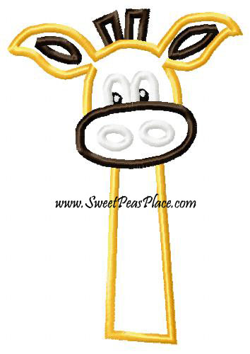 Silly Giraffe Applique Embroidery Design