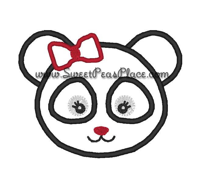 M2MG Holiday Panda Girl Applique Embroidery Design