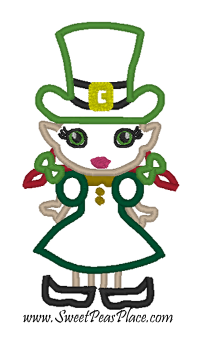 Leprechaun Girl Applique Embroidery Design