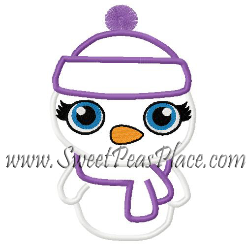 Girl Snowman With Hat Applique Embroidery Design