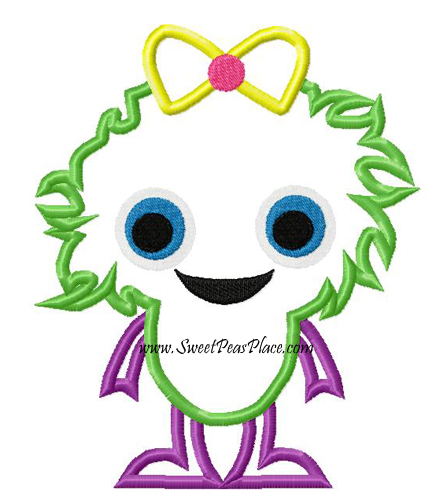 Girl Monster Applique Embroidery Design