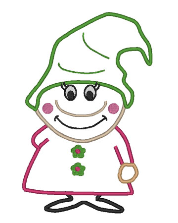 Girl Gnome Rita Applique Embroidery Design