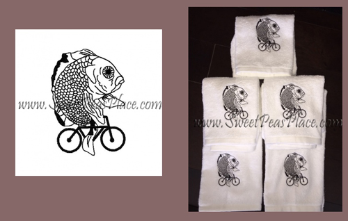 Goldfish Riding Bike Embroidery Design