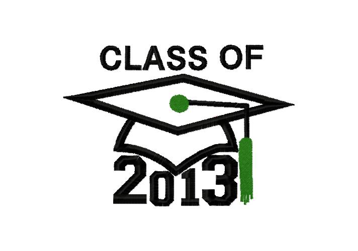 Graduation Class 2013 Applique Embroidery Design