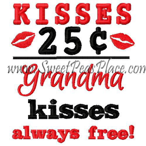 Kisses 25 cents Grandma Kisses Free Embroidery Design