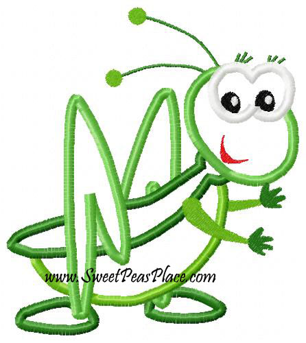 Grasshopper Applique Embroidery Design