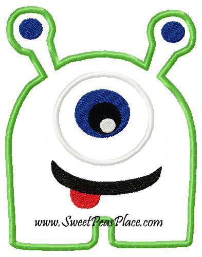 Green Alien 2 Applique Embroidery Design