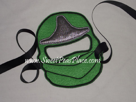 Green Ninja Mask in the Hoop Applique Embroidery Design