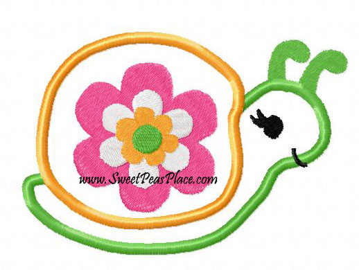 Growing Flowers Turtle Applique Embroidery Design