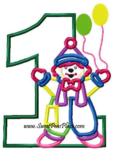 Clown with One Applique Embroidery Design