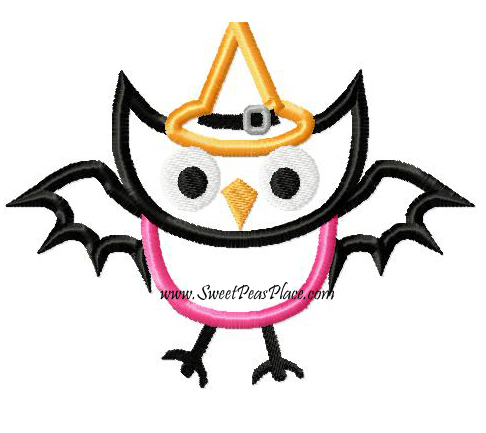 Halloween Owl Applique Embroidery Design