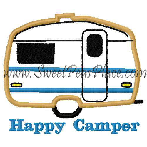 Happy Camper Applique Embroidery Design