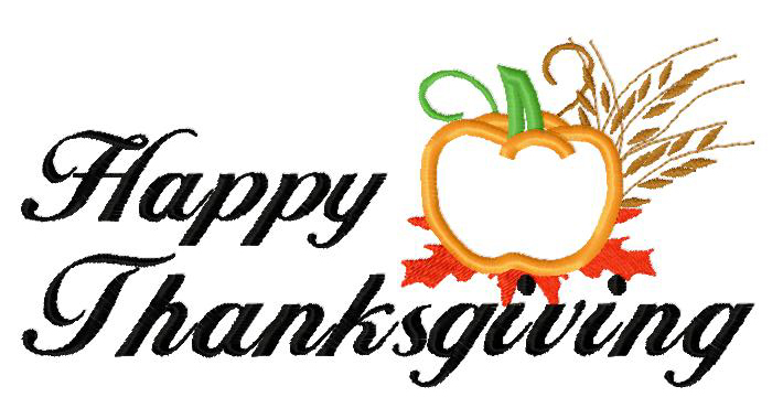 Happy Thanksgiving Applique Embroidery Design