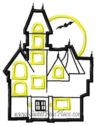 Haunted House Applique Embroidery Design