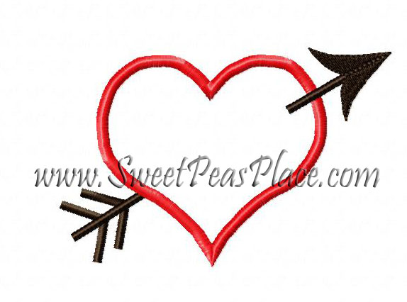 Valentine With Arrow Applique Embroidery Design
